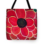Big Red Zinnia Flower Tote Bag