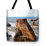 Big Rocks In Grey Water Painting Tote Bag