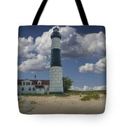 Big Sable Lighthouse Under Cloudy Blue Skies Tote Bag