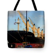 Big Tanker In The Harbor Tote Bag
