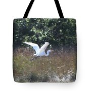 Big White Bird Flying Away Tote Bag