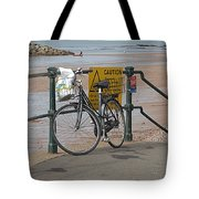 Bike Against Railings Tote Bag
