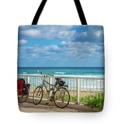 Bike Break At The Beach Tote Bag