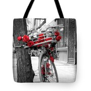 Bike With Red Roses Tote Bag