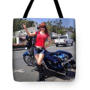 Biker Girl. Model Sofia Metal Queen Tote Bag