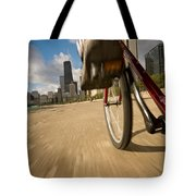Biking Chicagos Lakefront Tote Bag