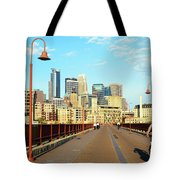 Biking On The Stone Arch Bridge Tote Bag