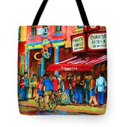 Biking Past The Deli Tote Bag