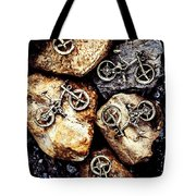 Biking Trail Scene Tote Bag