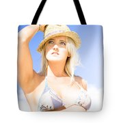 Bikini Lady Against Blue Sky Background Tote Bag