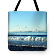 Billowing White Waves And Seagulls Tote Bag
