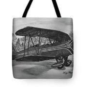 Biplane In Black And White Tote Bag by Megan Cohen