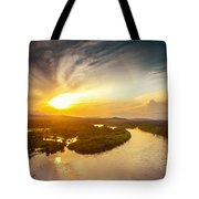 Bira River At Sunset. Tote Bag