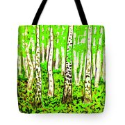 Birch Forest, Painting Tote Bag