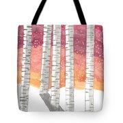Birch In The Snow Tote Bag