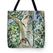 Birch Tree Sketchbook Project Down My Street Tote Bag by Irina Sztukowski