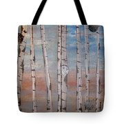 Birch Trees - Clouds Tote Bag
