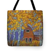 Birch Trees And Barn Tote Bag