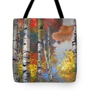 Birch Trees By The Lake Tote Bag