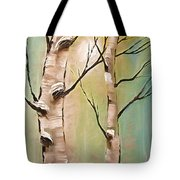 Birch Trees Color Pencil  Tote Bag