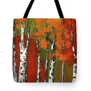 Birch Trees In An Autumn Forest Tote Bag