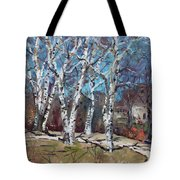 Birch Trees Next Door Tote Bag