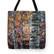 Birch Trees Oil Painting With Palette Knife  Tote Bag