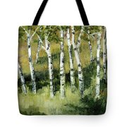 Birches On A Hill Tote Bag
