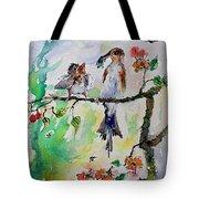 Bird Feeding Baby Watercolor Tote Bag