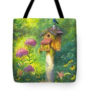Bird House And Bluebird  Tote Bag