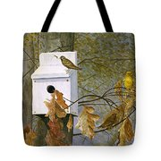 Bird House In Fall Tote Bag