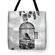 Bird In A Cage-black Tote Bag