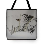 Bird In Bamboo- Fan Painting Tote Bag