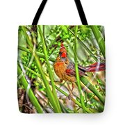 Bird In The Brush H D R Tote Bag
