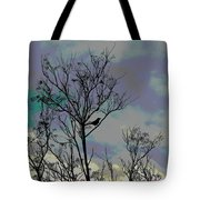 Bird In Tree Silhouette Iv Abstract Tote Bag