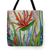 Bird Of Paradise In An Imaginary Garden Tote Bag