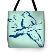 Bird On Branch In Blue Tote Bag