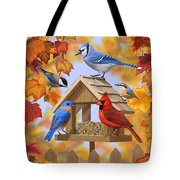 Bird Painting - Autumn Aquaintances Tote Bag by Crista Forest