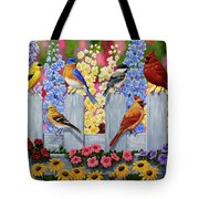 Bird Painting - Spring Garden Party Tote Bag by Crista Forest