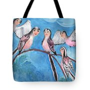 Bird People Long Tailed Tits Tote Bag