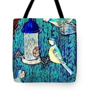 Bird People The Bluetit Family Tote Bag