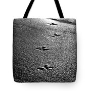 Bird Prints In The Sand Black And White Tote Bag