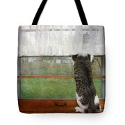 Bird Watching Kitty Cat Tote Bag