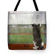 Bird Watching Kitty Cat Tote Bag