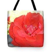 Bird Watching Red Rose Tote Bag