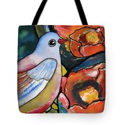 Bird With Prickly Pear Cactus Flowers Tote Bag