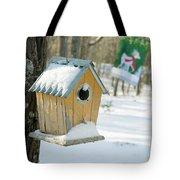 Birdhouse And Deer Flag Tote Bag