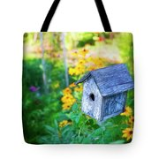 Birdhouse And Flowers Tote Bag
