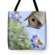 Birdhouse In A Country Garden Tote Bag