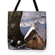 Birdhouse In Snow Tote Bag